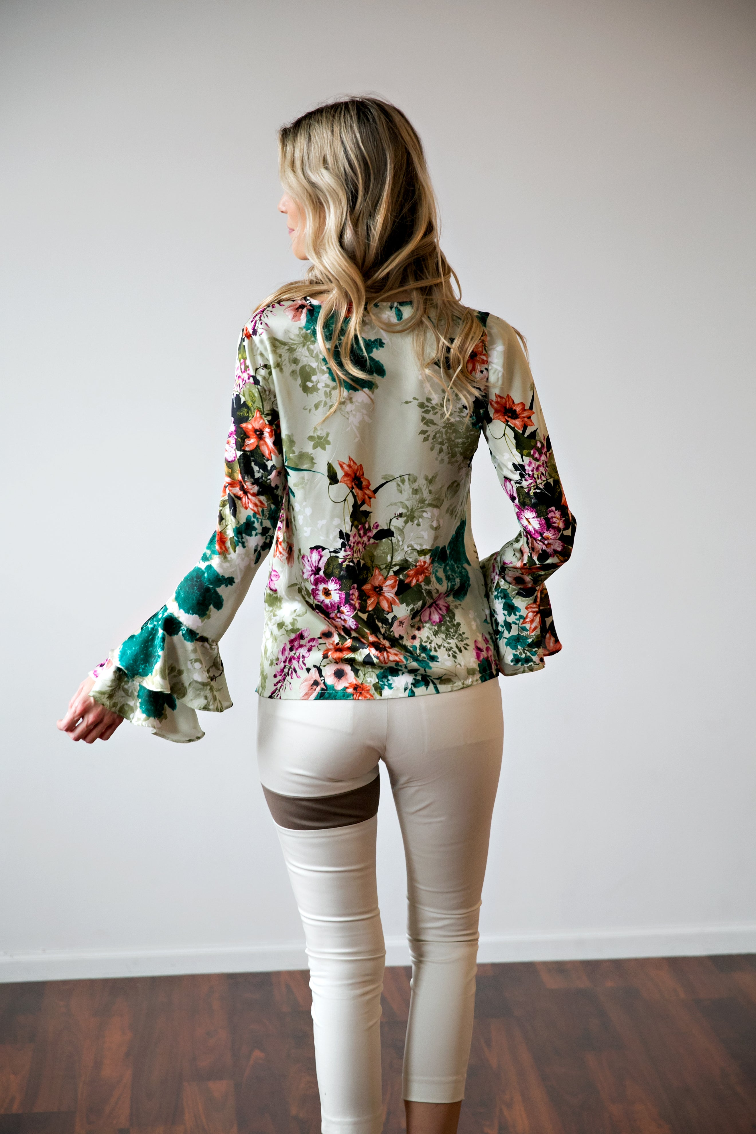 Green Floral Faux Wrap Top