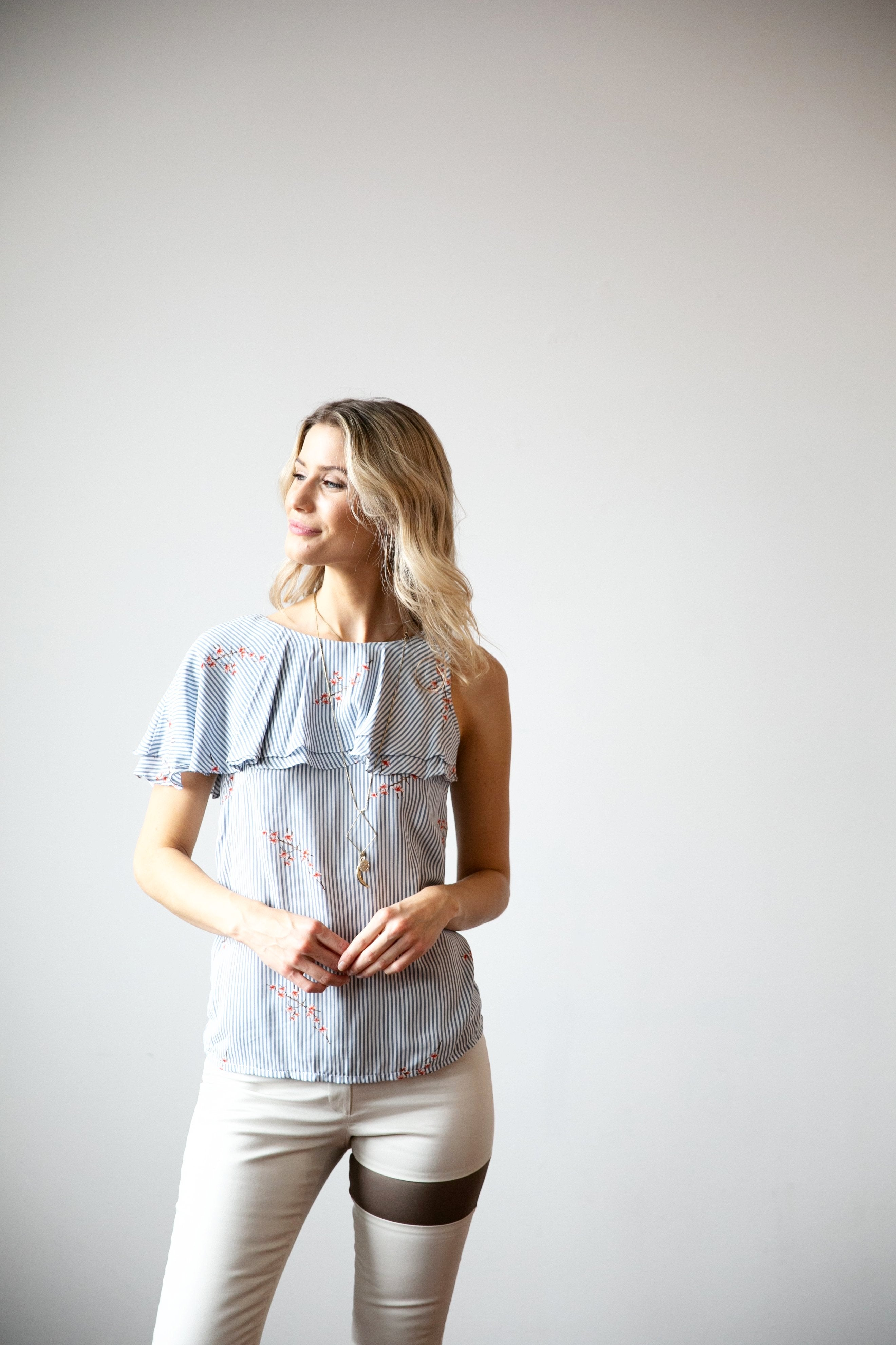 One Shoulder Double Ruffle Top