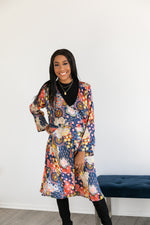 Blue Abstract Print 2-in-1 Long Cardigan Wrap Dress