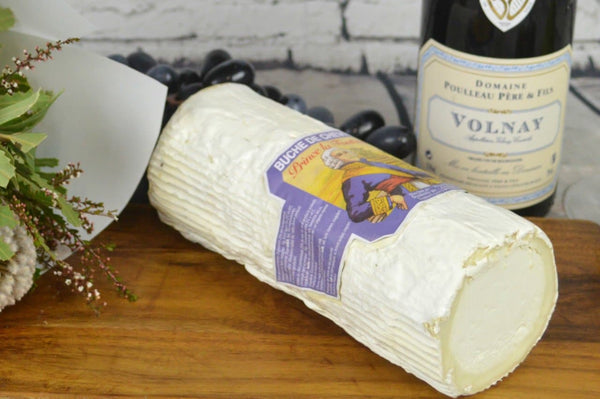 Buche de Chevre French Goat cheese full log on a cheeseboard