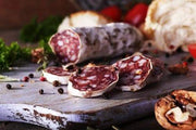 French Free range pork SAUCISSON SEC on a charcuterie board