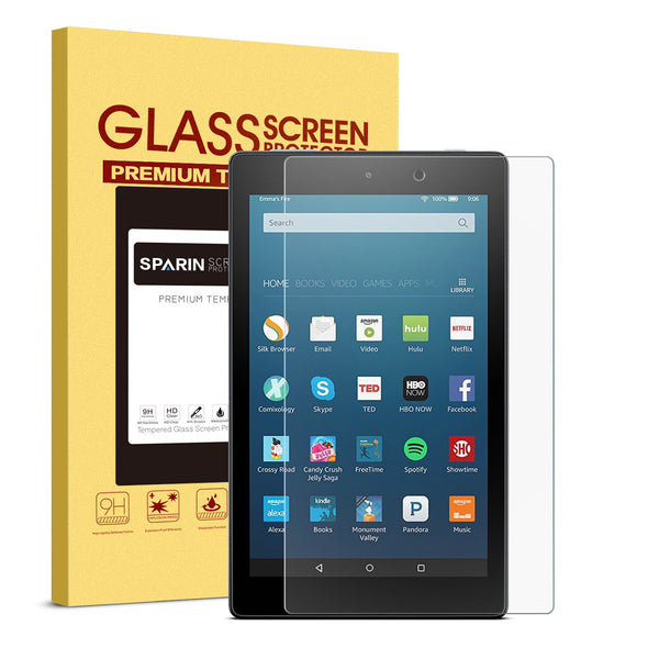 SPARIN Fire HD 8 Screen Protector, Tempered Glass Cover for Fire HD 8 Tablet with Ultra Clear, Scratch Resistant, 6th Gen 2016 5th Gen 2015