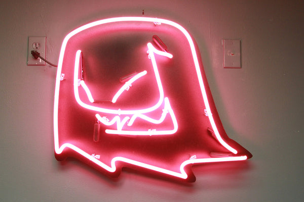 Mr. Fangs handmade hot pink neon sign.
