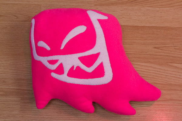Handmade Mr. Fangs Atlanta ghost hot pink plush pillow.