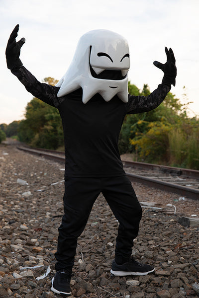 Handmade Mr. Fangs Atlanta ghost helmet wearable sculpture art.