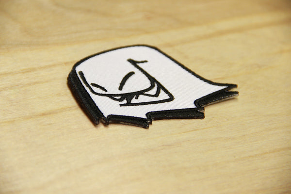 Iron-on or embroider original Mr. Fangs ghost patch. Perfect for hats, jackets, backpacks and soccer jerseys.