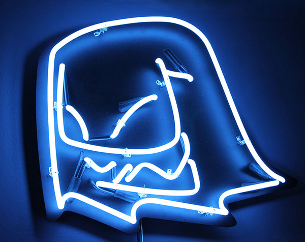 Mr. Fangs handmade electric blue neon sign.