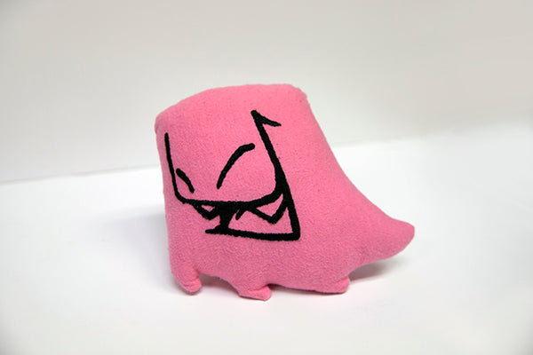 Hand sewn small pink Mr. Fangs plush with hand-embroidered smile in black.