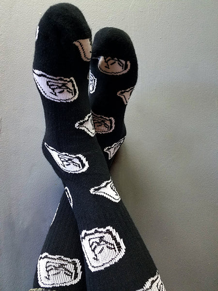 Men's 9-12 mid-calf black and white socks with original Mr. Fangs and chicken leg on the sole
