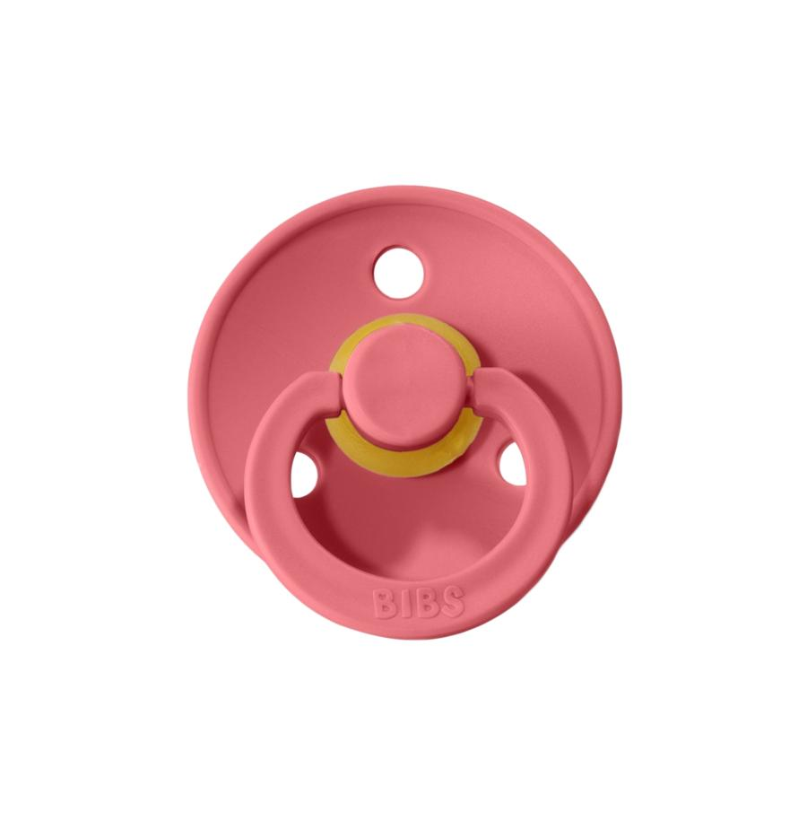 Mushie Bibs Natural Rubber Pacifier - Coral