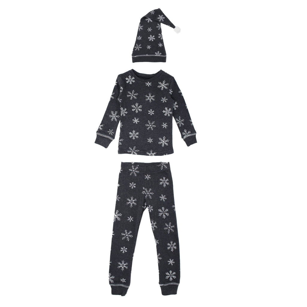 L'oved Baby Organic Kids Long Sleeve PJ and Cap Set - Frost