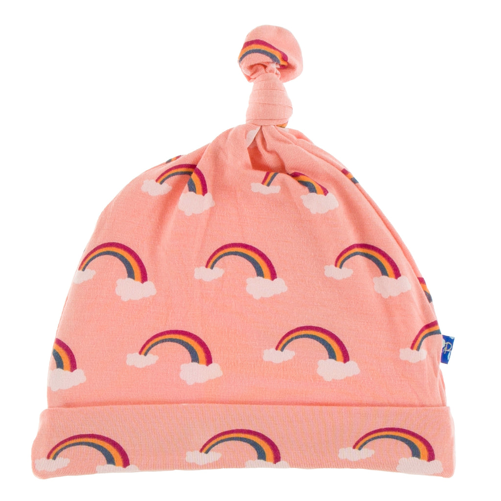 Kickee Pants Print Knot Hat - Blush Rainbow