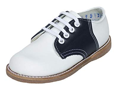 Amilio Toddler's/Kid's Leather Saddle Shoe/Oxford - Chris (White/Navy)