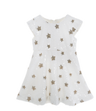 Doe a Dear Cap Sleeve Star Sequin Fit n' Flare Dress - White