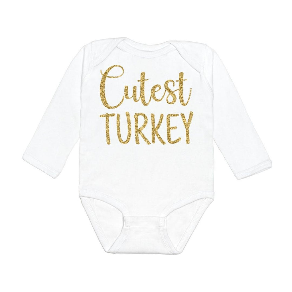 Sweet Wink Cutest Turkey Long Sleeve Bodysuit - White