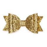 Sweet Wink Gold Glitter Bow Hair Clip