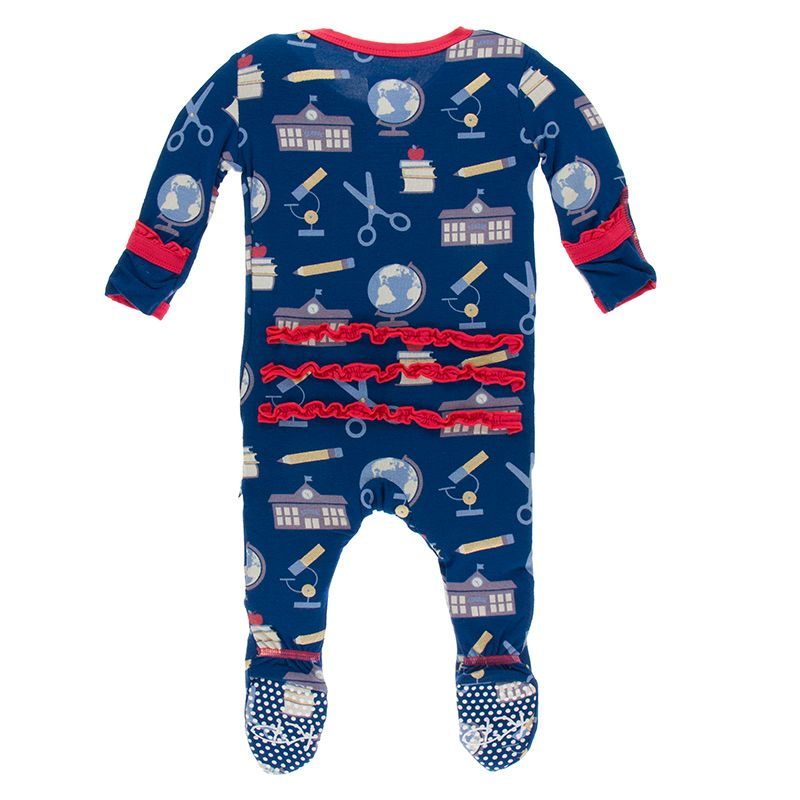 Kickee Pants Print Muffin Ruffle Footie with Zipper - Navy Education Everyday Heroes