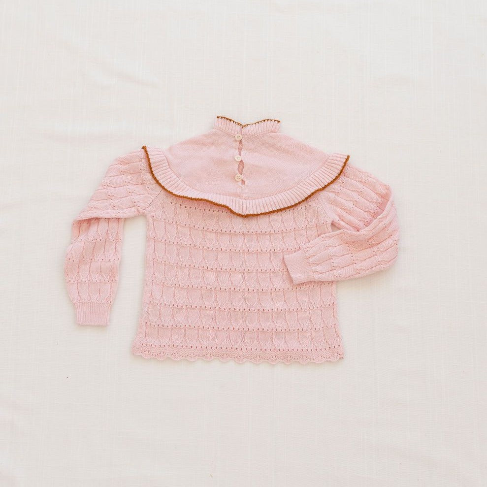 Fin & Vince Autumn Bib Sweater - Blush/Curry