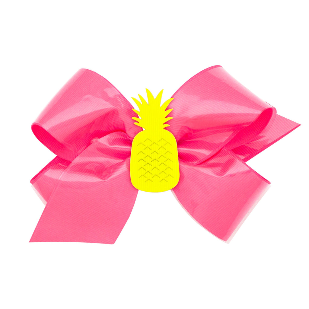 Wee Ones Neon Vinyl Bow with Detachable Clip - Pink Pineapple