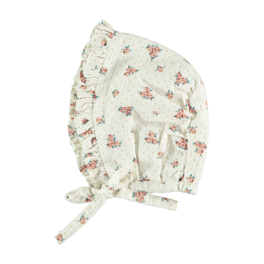 Tocoto Vintage Flower Bonnet - Off White