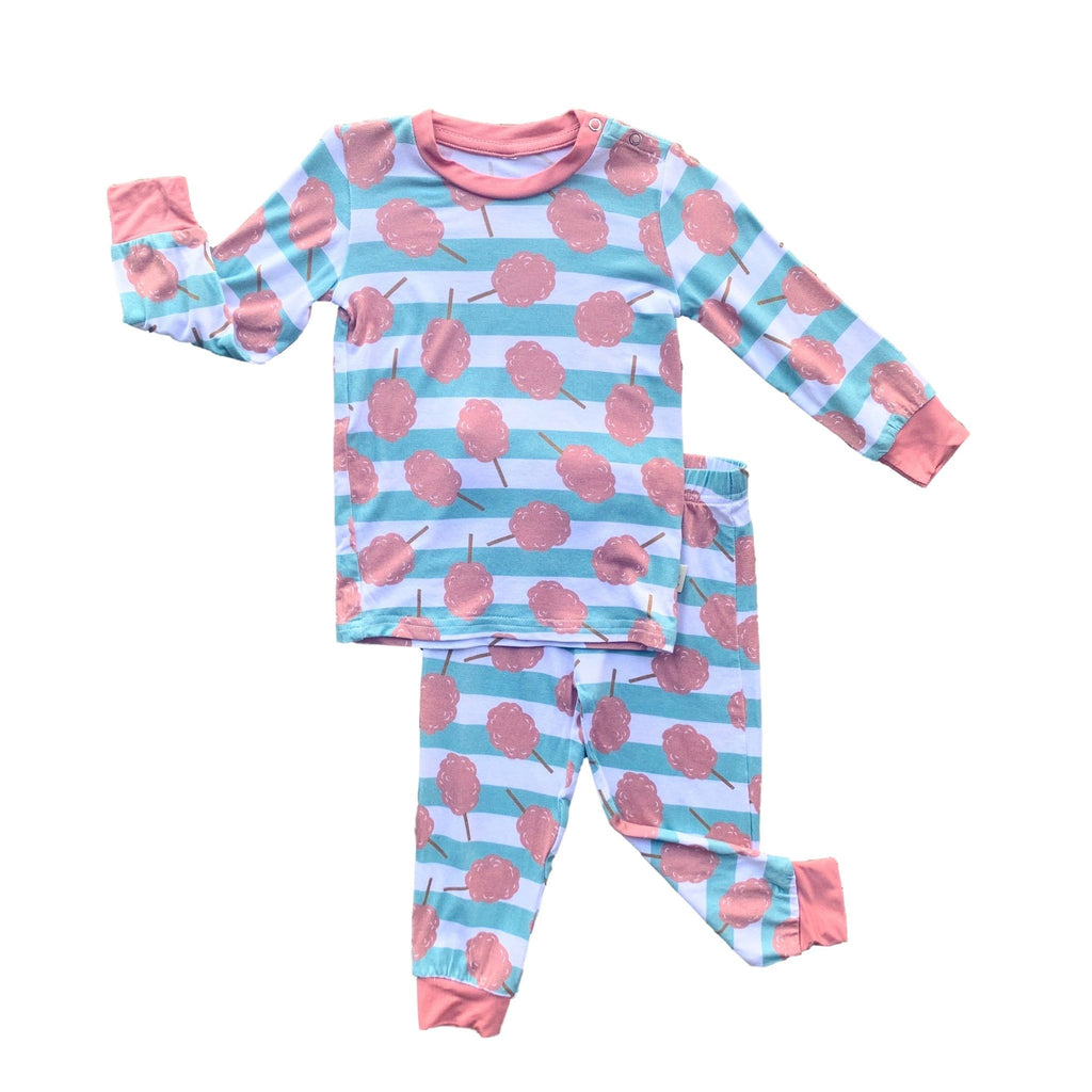 Kozi & Co Big Kid Long Sleeve Pajama Set - Cotton Candy Stripe