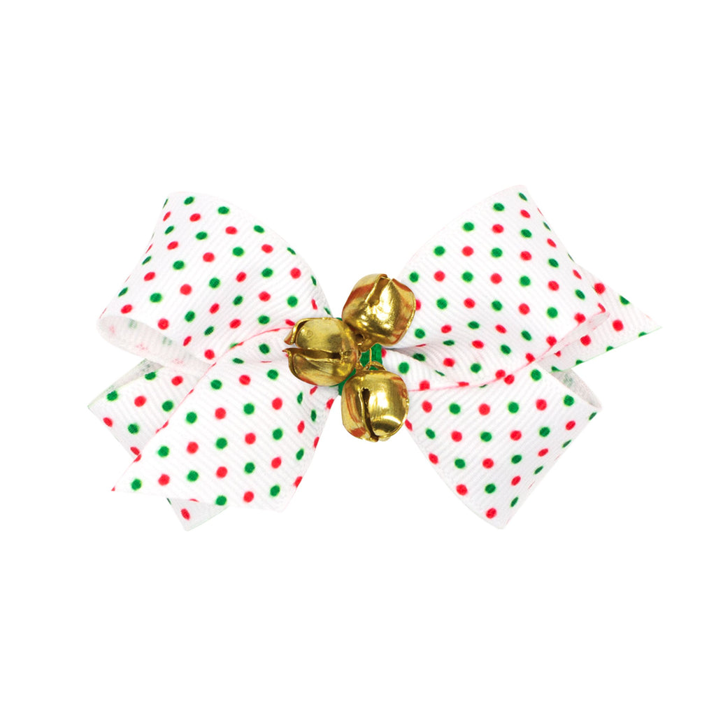 Wee Ones Mini Bow with Bells - Red and Green Dots