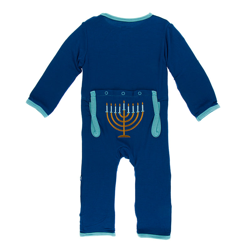 Kickee Pants Holiday Layette Applique Coverall - Navy Menorah