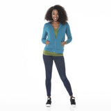 Kickee Pants Solid Women's Fleece Zip-Front Hoodie - Heritage Blue