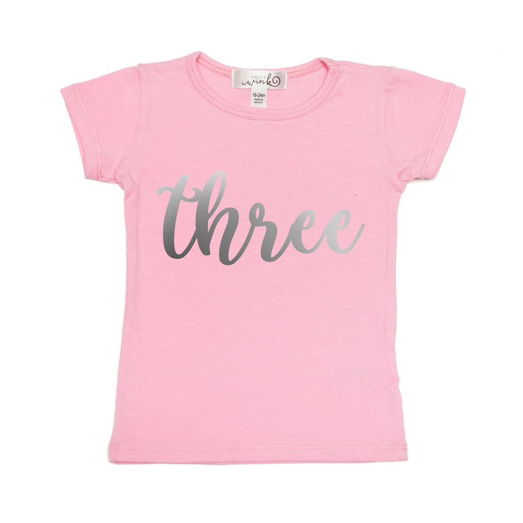 Sweet Wink Three Tee - Pink