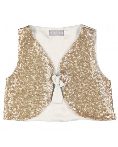 Boboli Satin Sequin Vest - Gold
