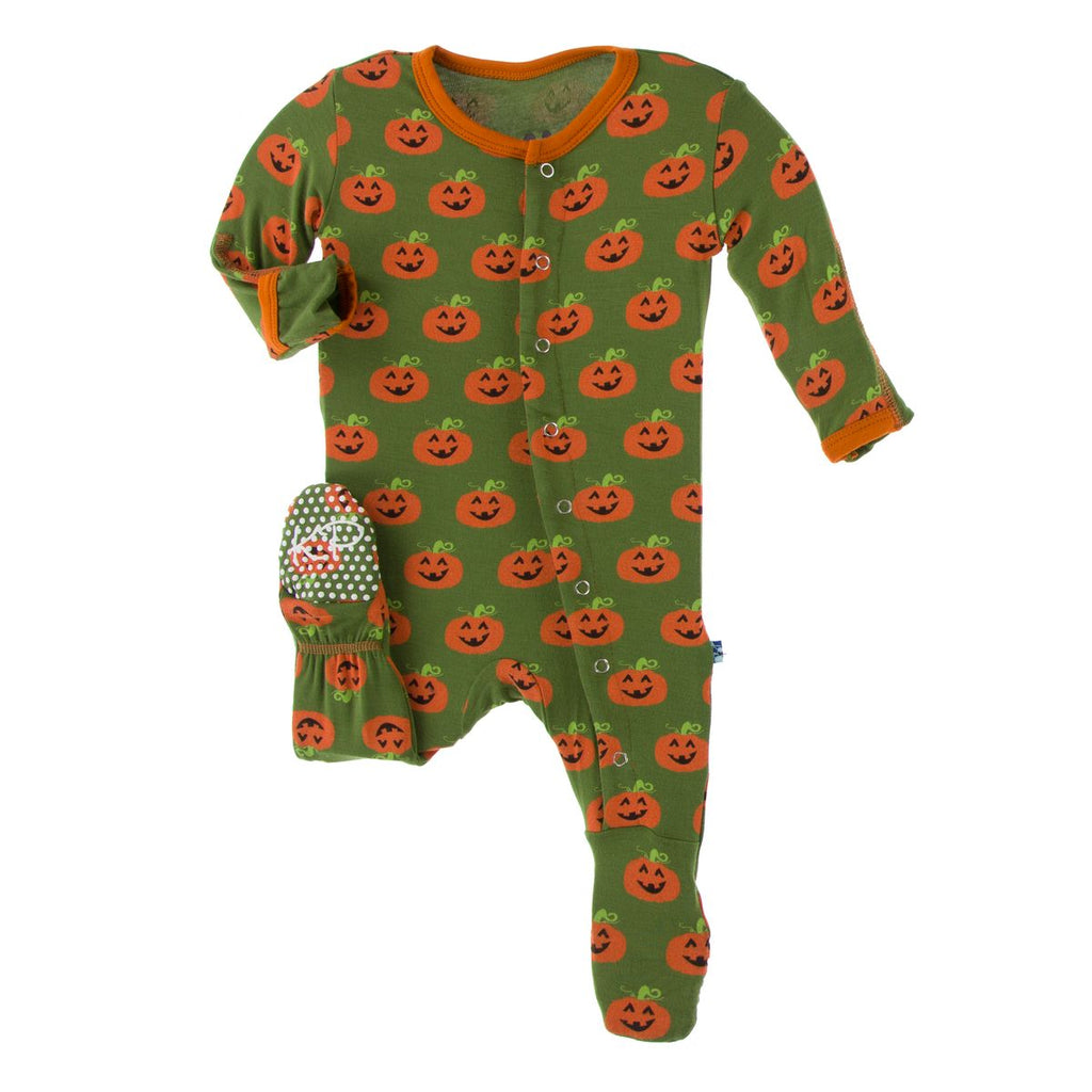 Kickee Pants Print Footie with Snaps - Moss Jack O' Lantern