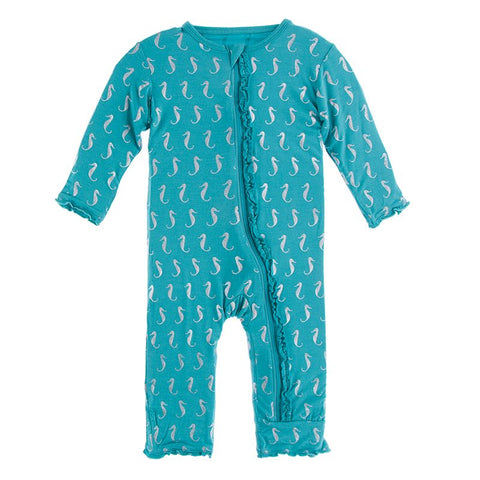 Kickee Pants Muffin Ruffle Footie with Zipper - Neptune Mini Seahorses **Fish and Wildlife Pre-Sale**