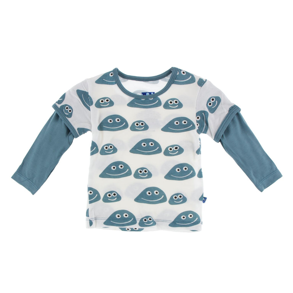 Kickee Pants Print Long Sleeve Easy Fit Double Layer Tee - Natural Pet Rocks