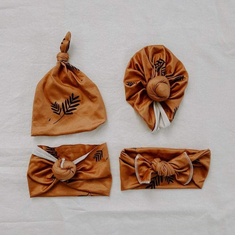 Harlee Bee & Co. Knot Headband - Tan Leaves
