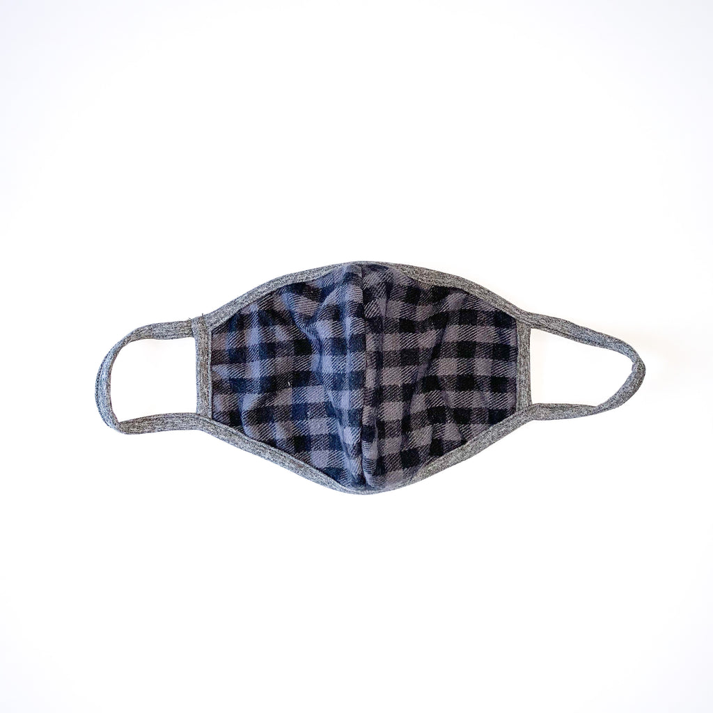 Sadie & Sage Adult Face Mask - Grey / Black Plaid