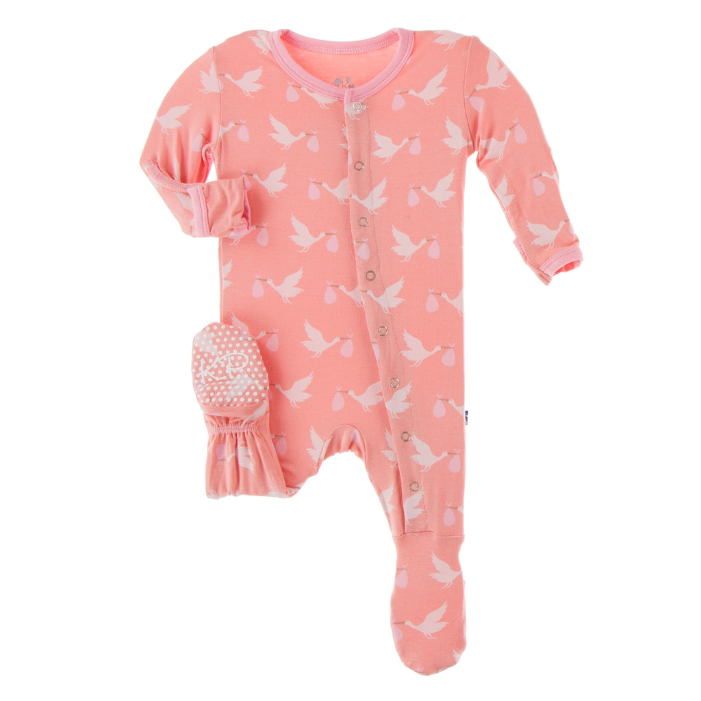 Kickee Pants Print Footie with Snaps - Blush Stork