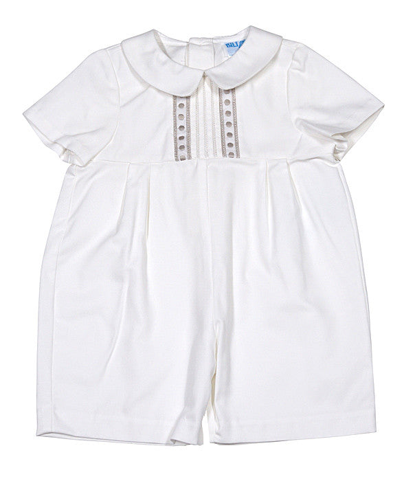 ae4067e62fa5 Luli   Me Boy Romper w Embroidered Batiste in Ivory – Casp Baby Mommy   Me  Boutique