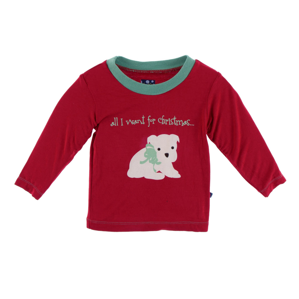 Kickee Pants Long Sleeve Piece Print Easy Fit Crew Neck Tee - All I Want for Christmas Crimson Puppy