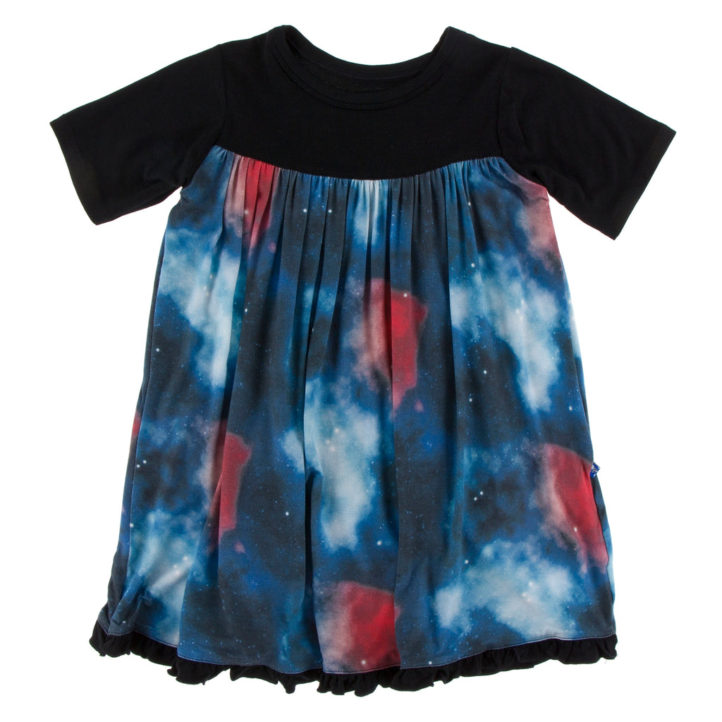 Kickee Pants Print Classic Short Sleeve Swing Dress - Red Ginger Galaxy Astronomy & Chemistry