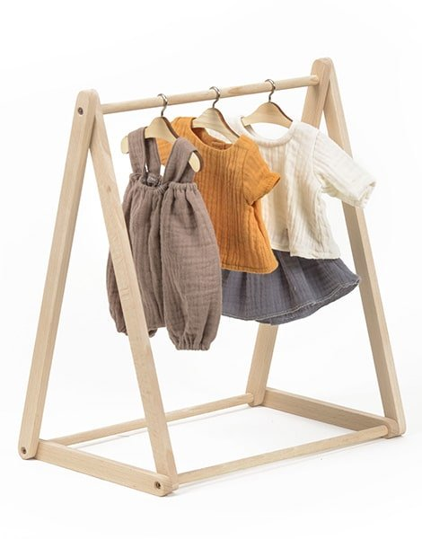 Minikane Clothes Rack in Natural Wood for Dolls