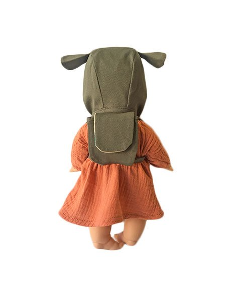 Minikane Doll Lena Set with Ear Bonnet and Small Backpack