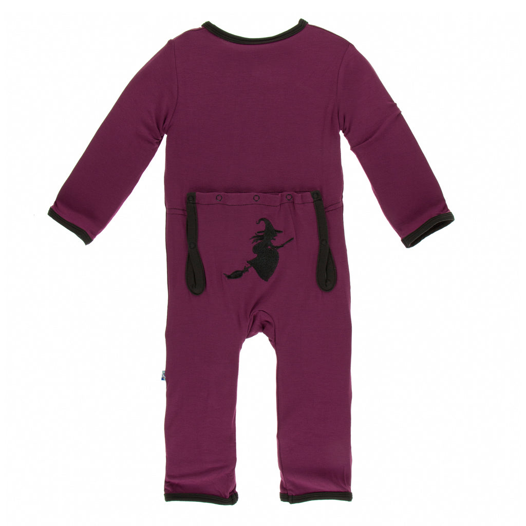 Kickee Pants Holiday Layette Applique Coverall - Grapevine Witch Paleontology