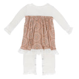 Kickee Pants Print Long Sleeve Dress Romper - Suede Bead Art 1st Delivery