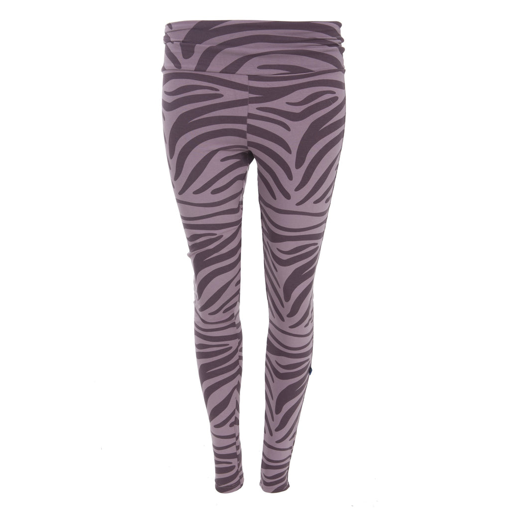 Kickee Pants Kids Print Performance Jersey Legging - Elderberry Zebra Print 1st Delivery