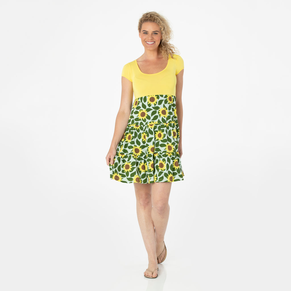 Kickee Pants Women's Print Sundress - Aloe Sunflower