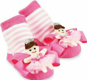 Mud Pie Baby Girl Pink Socks with Detachable Felt and Bow Princess Accent