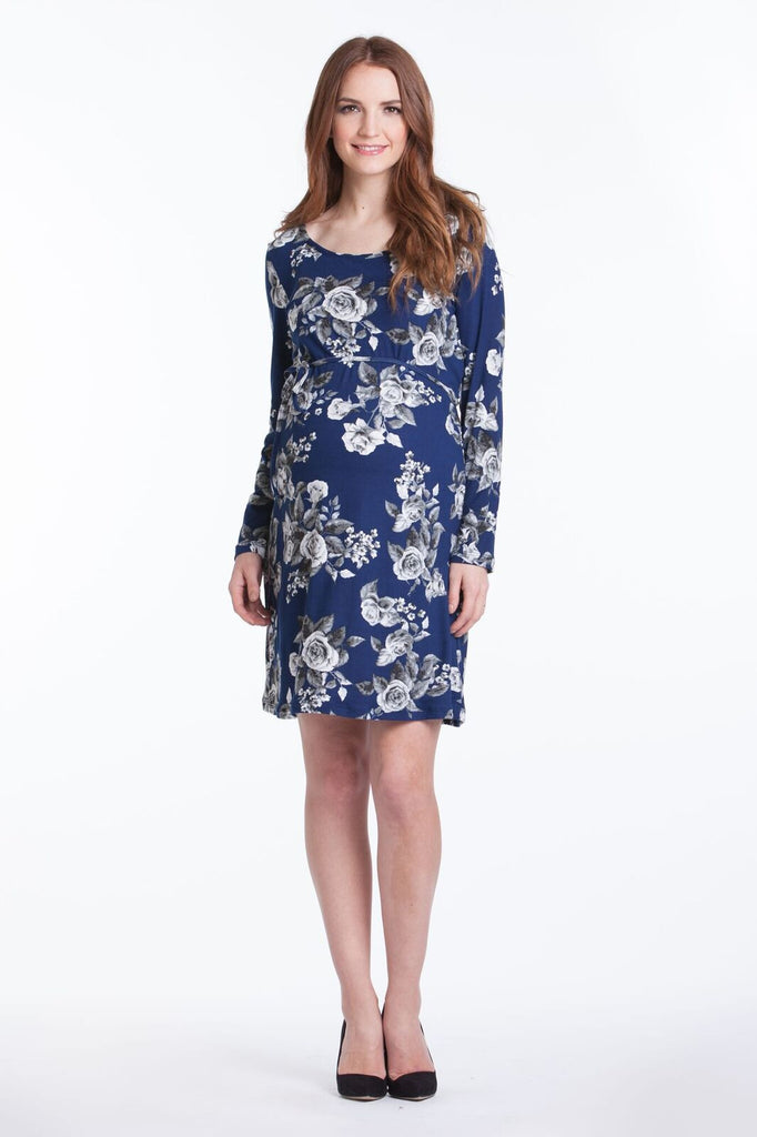 Lilac Maternity Shift Dress - Navy Floral