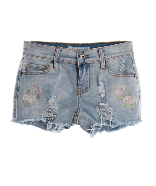 Play Six Rose Embroidered Denim Shorts