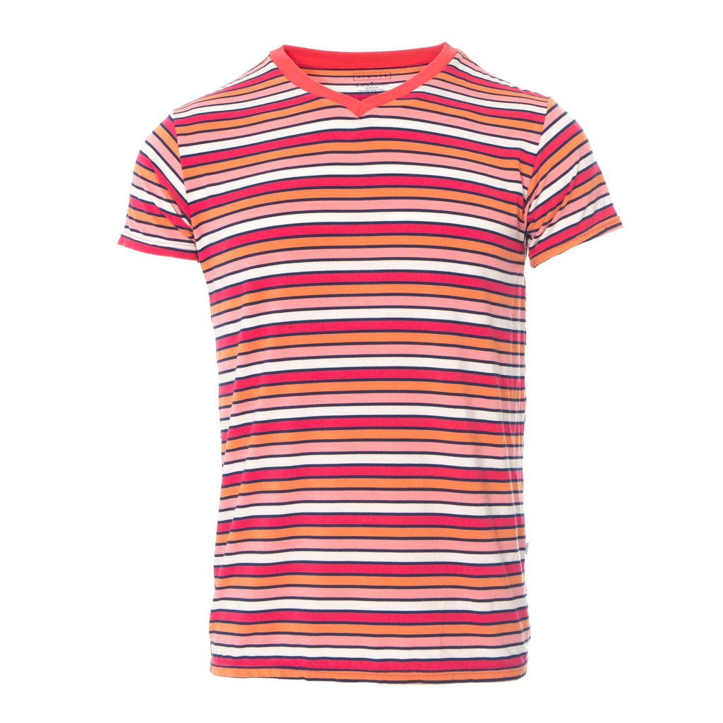 Kickee Pants Men's Short Sleeve Print V-Neck Tee - Botany Red Ginger Stripe