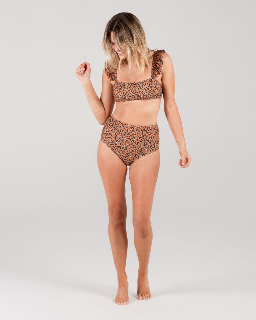 Rylee + Cru Women's Cheetah High Wasted Bikini Bottom - Bronze